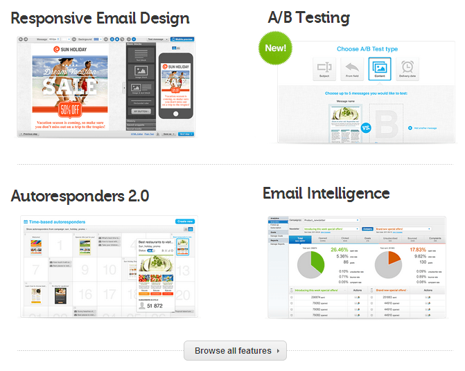 GetResponse Email marketing and autoresponder sofware features