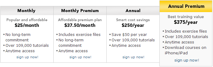 lynda - individual membership plans and pricing