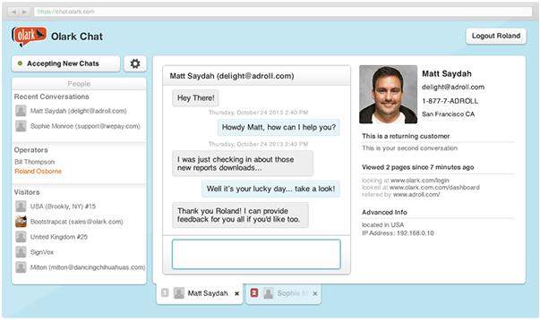 Olark live chat software