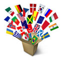 Flags of different countries in a box
